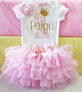 First Birthday Clothes Girl - 1 Birth Day Outfit - 1st Gold Princess Bodysuit Personalized and Pink Tutu - Baby Cake Smash - Custom Gifts for 1 Year Old