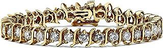 IGI Certified 6 Carat Premium Diamond Bracelet For Women, 14k Yellow Gold S Link, 7 Inches (H-I, I1-I2)