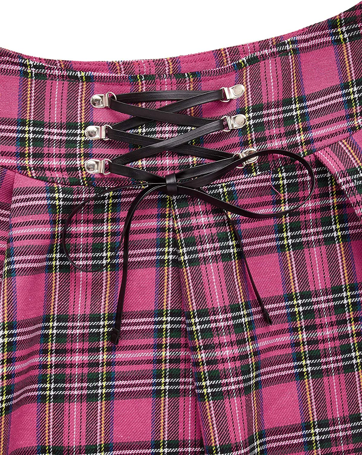 MakeMeChic Women's Gothic Plaid Lace Up High Waist A Line Pleated Mini Skater Skirt
