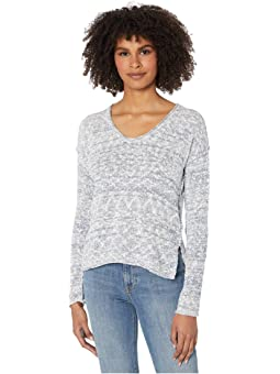 Michael Stars Womens Mixed Stitch Soft V-Neck Pullover with Ruffle Sleeve