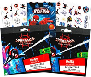 Superhero Party Favors Jumbo Sticker Set -- 12 Sheets of Marvel Spider-Man: Into The Spider-Verse Stickers with Bonus Spiderman Stickers (300+ Stickers Total) (Marvel Stickers and Party Supplies)