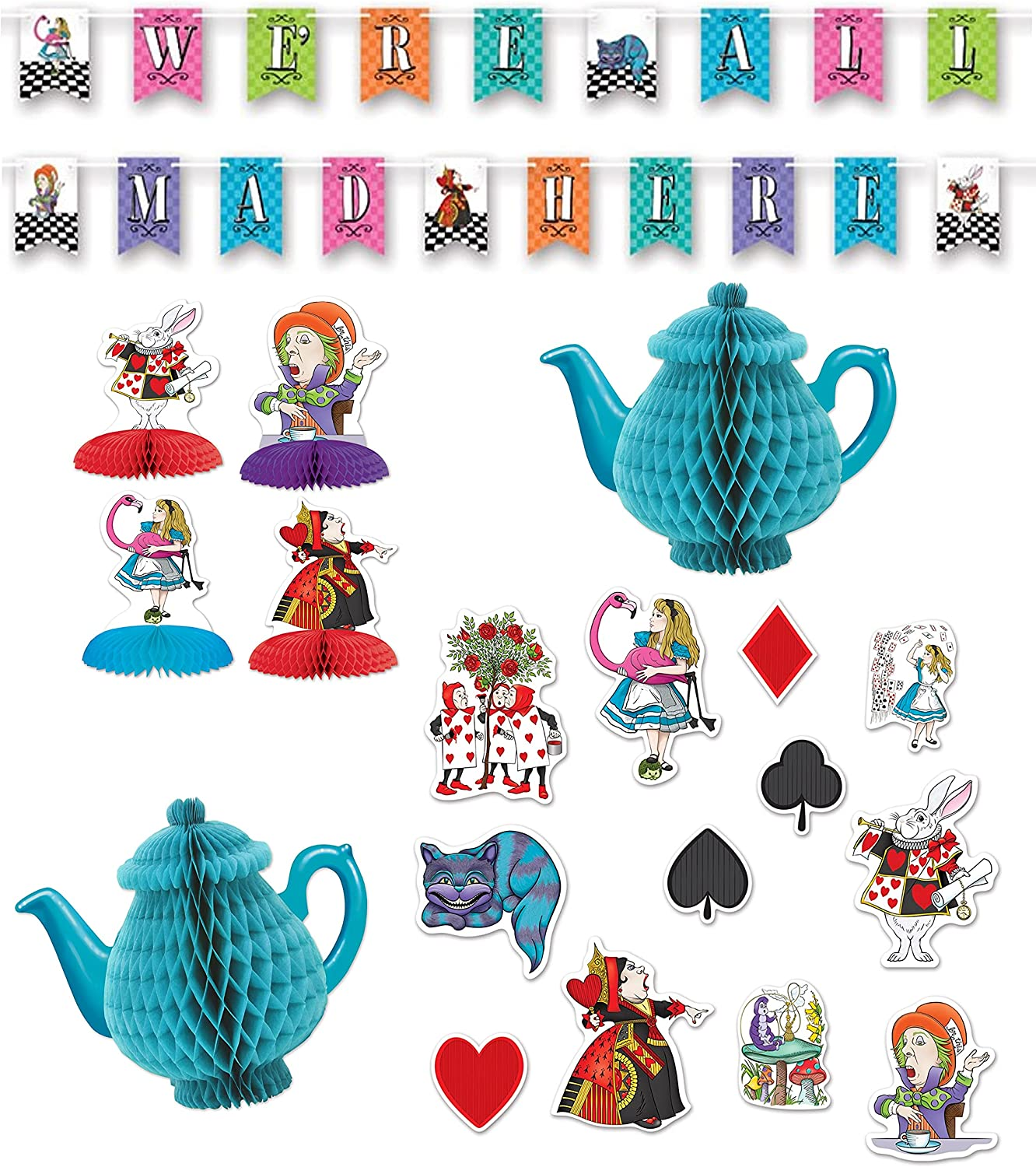 Large special price Free shipping Alice in Wonderland Party Decorations We're All Mad Streame Here