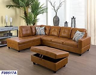Beverly Fine Funiture Sectional Sofa Set, Caramel