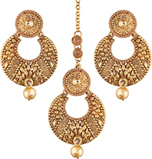 Indian Gold Plated Traditional Ethnic Bollywood Style Party Wear Earrings with Maang Tikka for Women (TE2414FL)