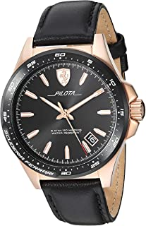 Ferrari Mens Quartz Watch, Analog Display and Leather Strap 830522