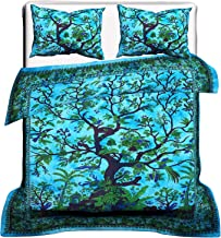 Tree of Life Indian Cotton Duvet Cover, Duvet Cover, Comforter Set, Bohemian Bedding Set, Queen Size Traditional Doona Cover, King Size Indian Cotton Throw Doona Cover Blanket Set, Duvet Cover,