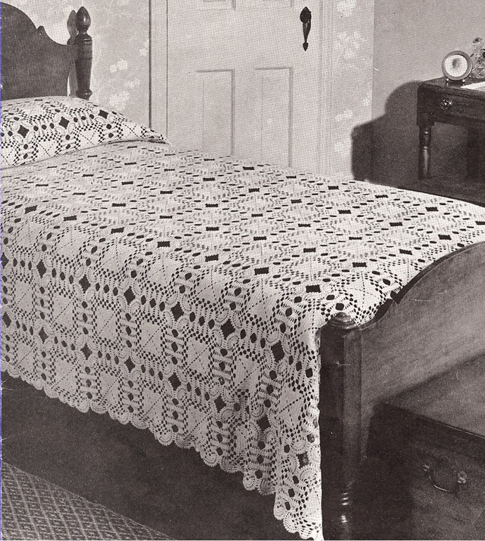 Vintage Crochet PATTERN to make sold out - Sale item BLOCK S Bedspread Cockle MOTIF
