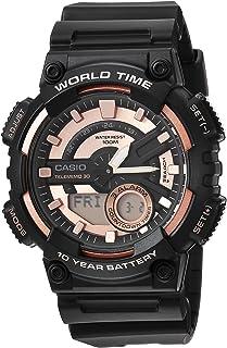Casio Men's Telememo Quartz Watch with Resin Strap, Black, 28 (Model: AEQ-110W-1A3V)