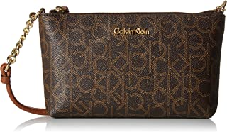 Calvin Klein Women Hayden Small Crossbody, Brown/Khaki Monogram, One Size