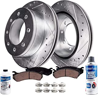 Detroit Axle - Pair (2) Front Drilled & Slotted Disc Brake Rotors w/Ceramic Pads for 2009-2012 Ford F-250 Super Duty 4WD - [2010 F-350 Super Duty 4WD SRW] - 2011 F-350 Super Duty 4WD