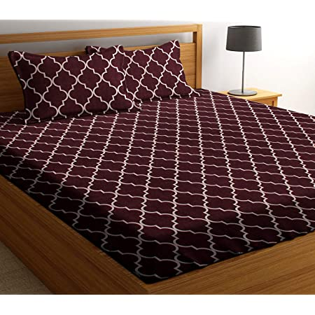 PATWAHOUSE 180 TC Glace Cotton King Size Coffee Carpet Design Luxury Double Bedsheet with 2 Pillow Covers