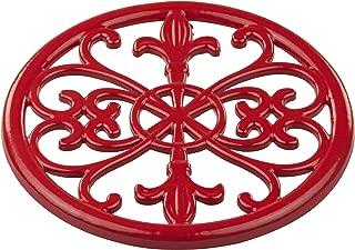 Home Basics (Red) Cast Iron Fleur De Lis Trivet Tr44392, 7.9