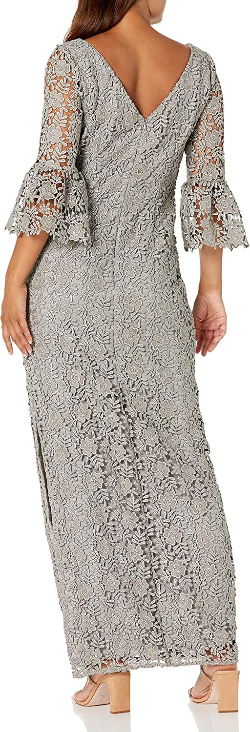 Alex Evenings Women's Petite Embroidered Dress with Illusion Neckline