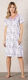 Camisola floral 100% algodão estamapda com abertura e renda - 6431