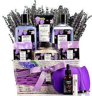 Lavender & Lilac Spa Gift Basket For Women & Men - Sleep Mask, Handmade Soap, Potpourri, Bath Bomb, Jojoba Oil, Organic Lip Balm & More - Aromatherapy Stress Relief Set, Bath & Body Self Care Package