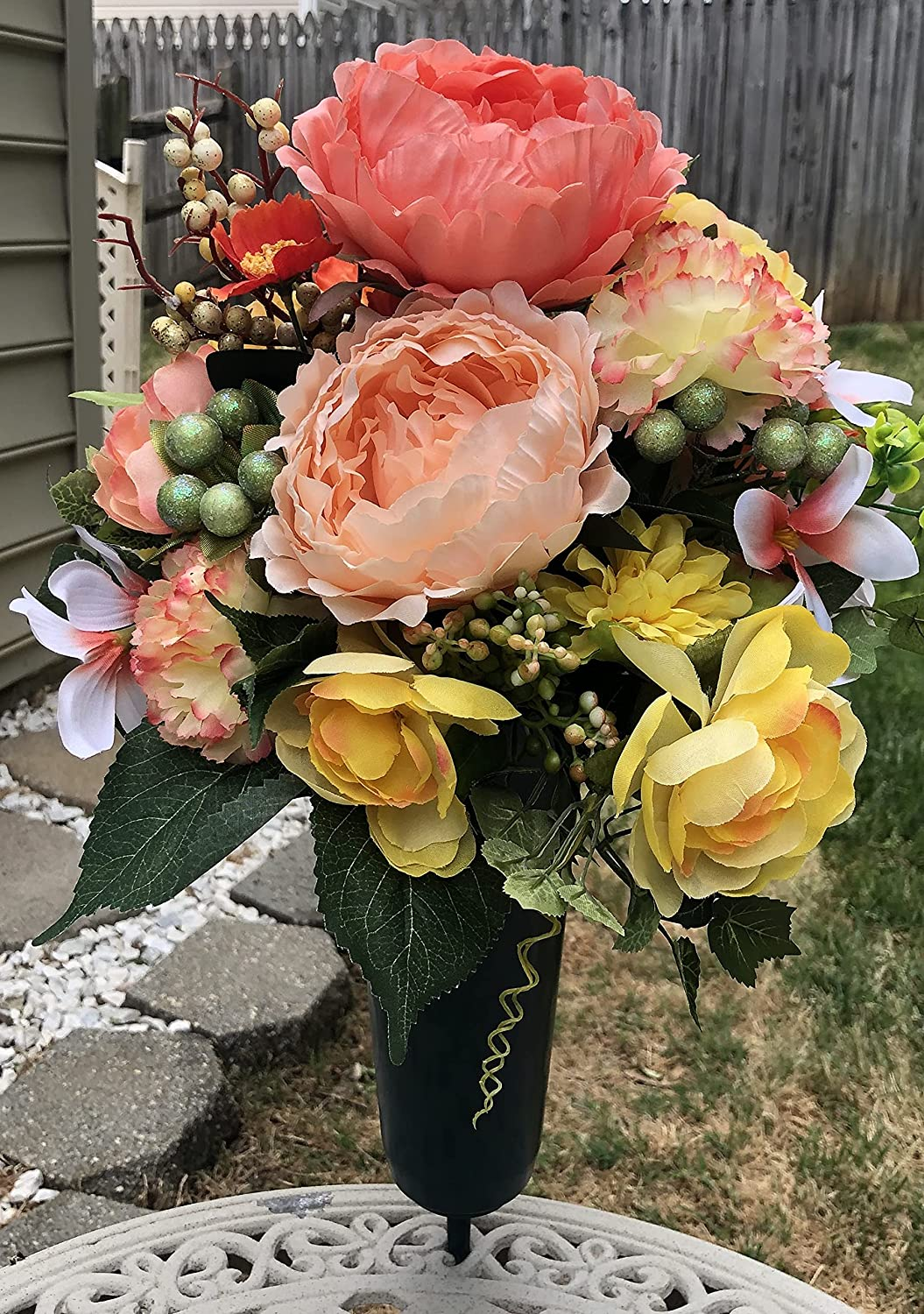 Cemetery Ranking TOP3 Memorial New Orleans Mall Gravesite Flowers Peach and Yellow