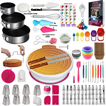 Kit de suministros para decoración de tartas de 360 piezas con suministros para hornear, forma de resorte, soporte para tortas, 55 puntas numeradas y bolsas de 7 puntas rusas para glaseado, espátulas de fondant, herramientas de medición, tazas y cucharas