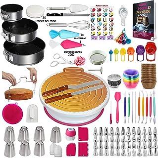 360 Pcs Cake Decorating Supplies Kit with Baking supplies- Spring form Pan Set -Cake Turntable stand-55 Numbered Piping Ti...