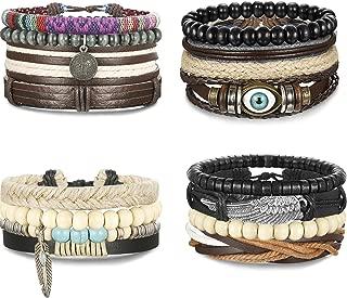FIBO STEEL 10-32 Pcs Braided Leather Bracelets for Men Women Cool Wrist Cuff Bracelet Adjustable …