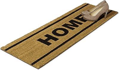 Relaxdays Paillasson fibres de coco tapis de sol porte entrée HOME 120x40 nature intérieur extérieur dessous antidérapant caoutchouc
