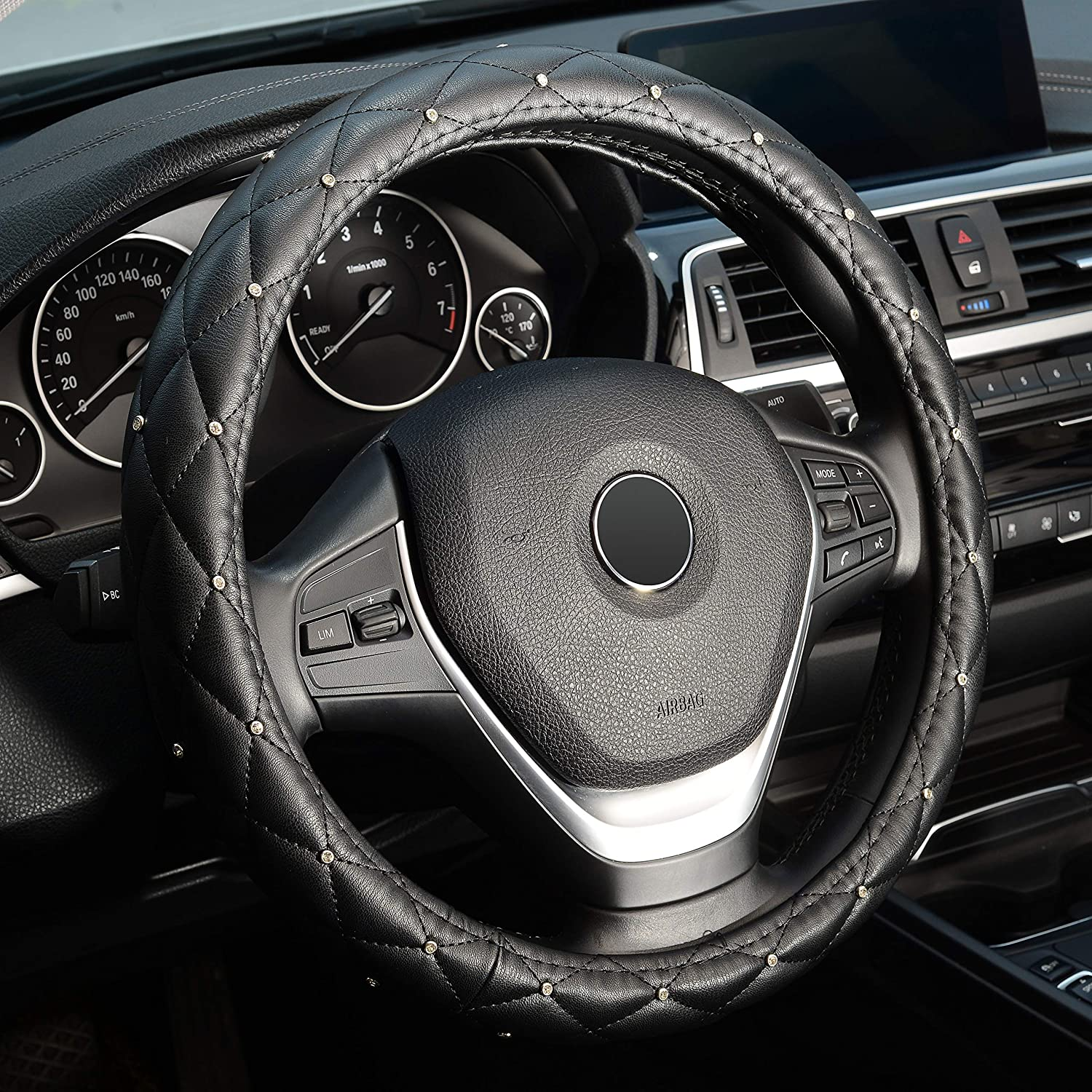 LABBYWAY Universal Fit 15 Inch Steering Wheel Cover, with Bling Bling Crystal Rhinestones, Diamond Leather Car Wheel Protector for Women Girls,Black