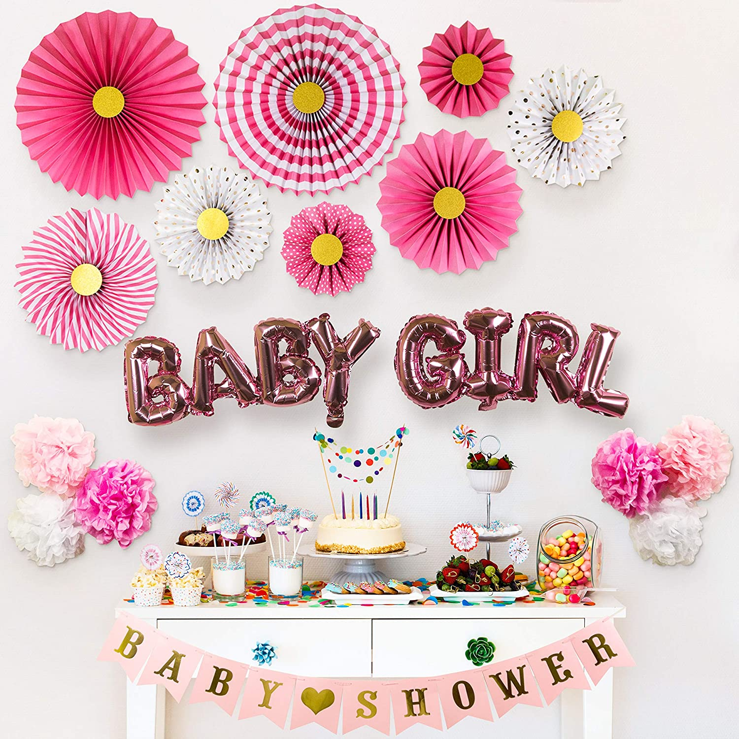 Partady Baby Shower Decorations for Girl – Pink and Gold Hanging Decorations Set with Paper Fans Kit, Banner, Tissue Pompoms Flowers and Balloons – Great Gift