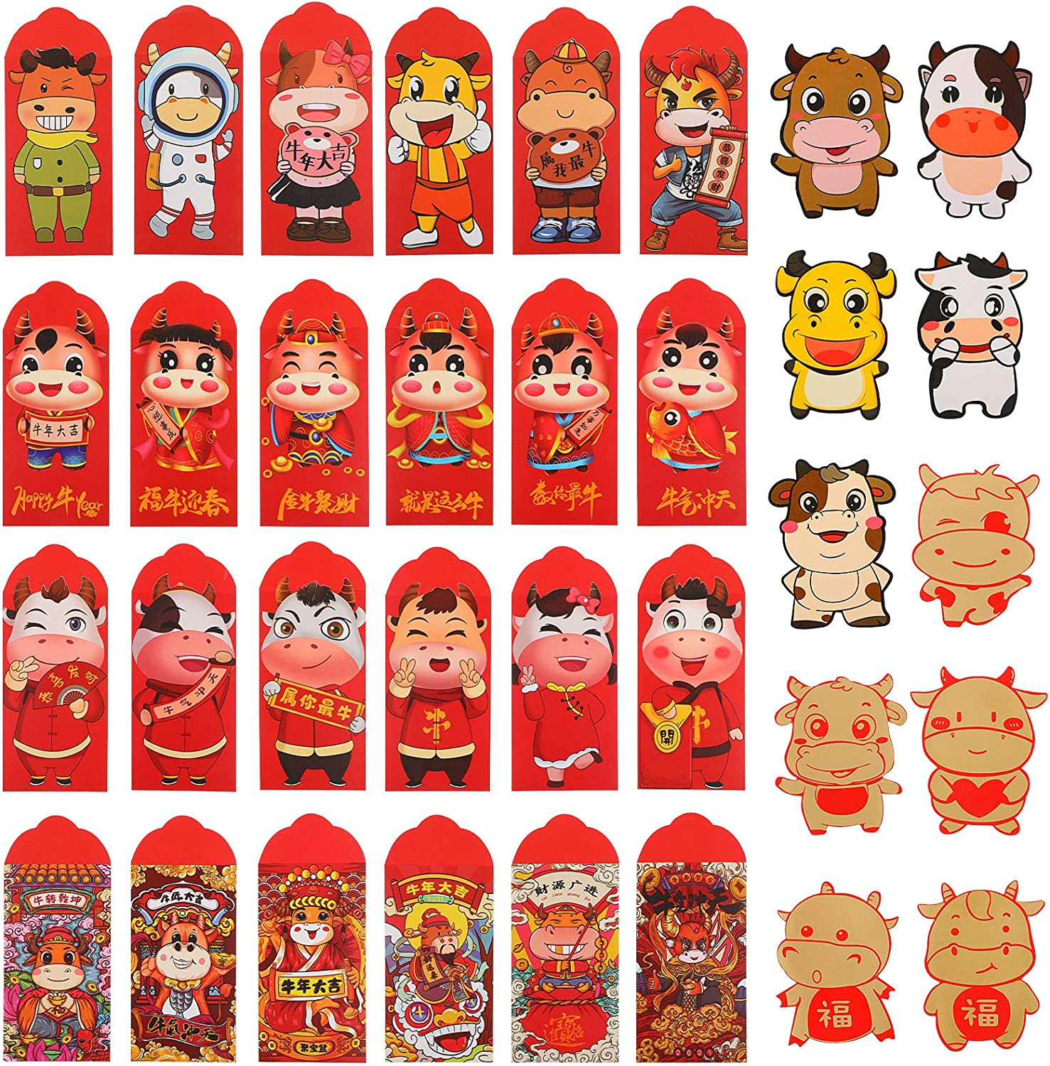 34 Pieces Same day shipping Safety and trust Chinese New Year 2021 Zodiac OX Red Envelopes