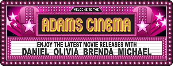 Vintage Style Personalized Home Cinema Sign in Hot Pink - Movie Marquee Sign - Movie Room Wall Decor