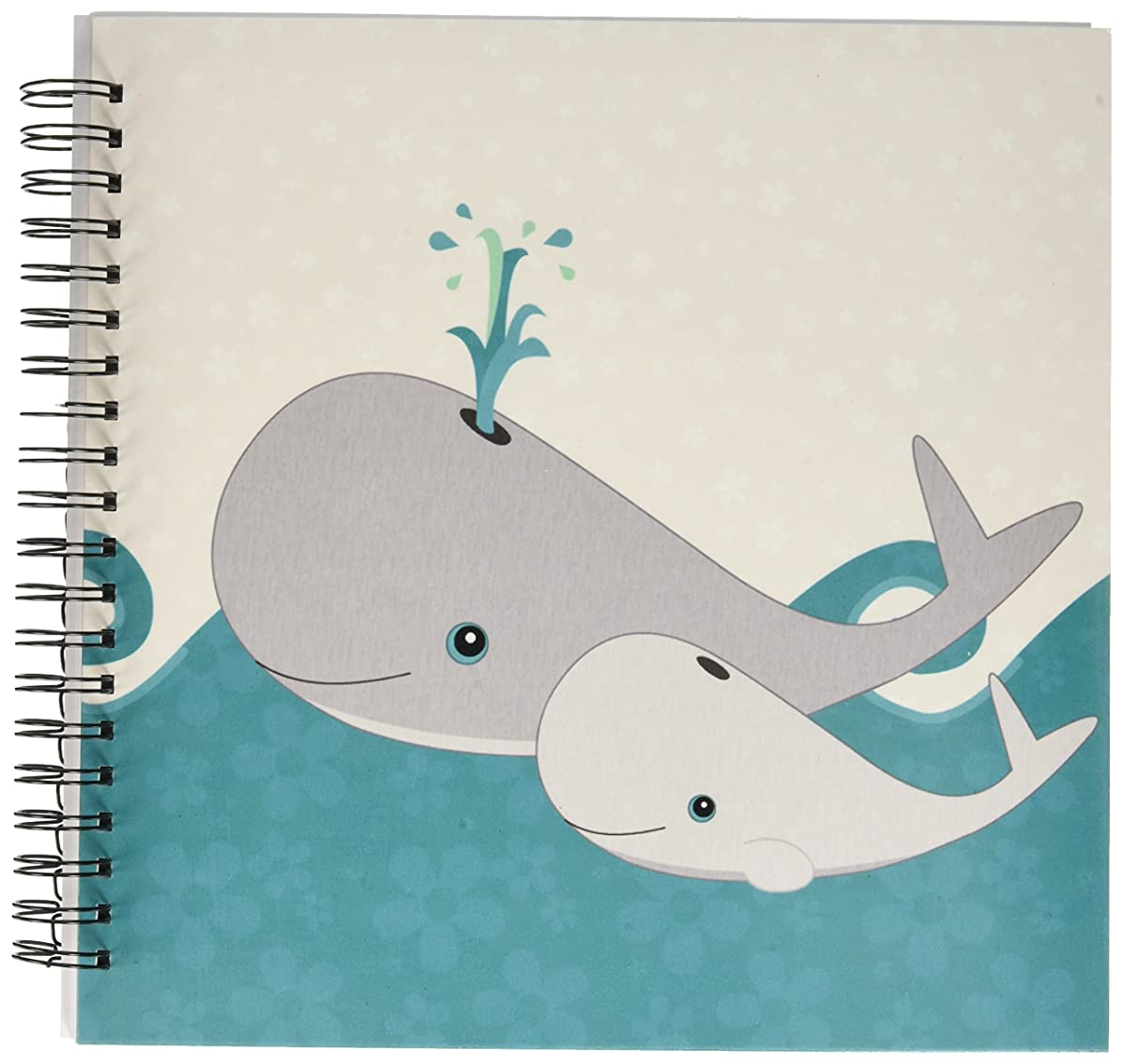 3dRose db_58599_2 Cute Whale and Baby on The Ocean Memory Book, 12 by 12-Inch