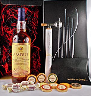 Geschenk Amrut Single Malt Whisky  Glaskugelportionierer  Edelschokolade  Fudge