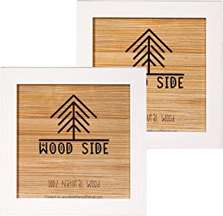 Rustic Wooden Square Picture Frames 8x8 - Set of 2-100% Natural Solid Eco Wood with Real Glass for Wall Mounting Photo Frame - White