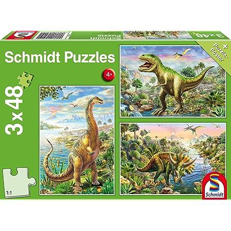 Schmidt Spiele - 56202 - Aventure avec Les Dinosaures, 3x48 Pcs
