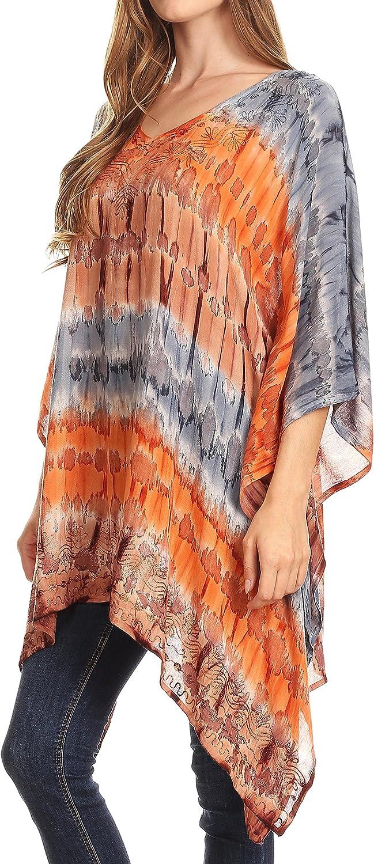 Sakkas Adalwin Wüsten-Sonne Leichter Kreis Ponch Tunika Top Bluse W/Stickerei Grau / Coral
