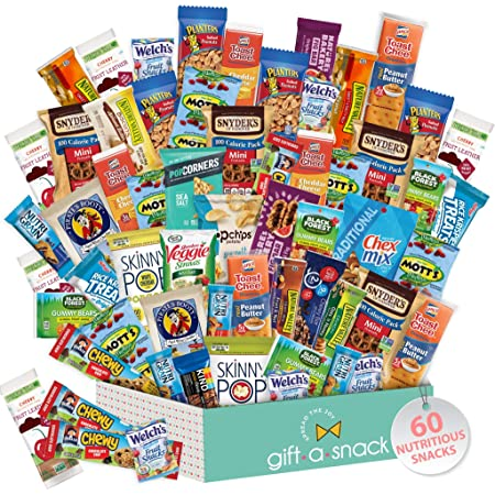 Healthy Snack Box Variety Pack (60 Count) Mothers Day Gift Basket - College Student Care Package, Natural Food Bar Nut Fruit, Nutritious Chips - Birthday Treat for Mom, Women, Men, Adults, Teens, Kids