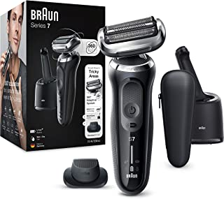 Braun Series 7 Electric Shaver for Men with, Precision Beard Trimmer, Wet and Dry, SmartCare Center, Rechargeable, Cordless Foil Razor, Black, 70-N7200cc