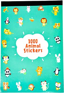 Fidelium Favors 1000 Animal Stickers for Kids, Teachers, Rewards Or Scrapbooking - Sticker Book Includes 25 Tear Away Sticker Sheets with Over 240 Unique Designs of Kawaii Cute Animal Stickers