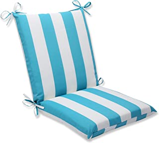Pillow Perfect Outdoor Cabana Stripe Squared Corners Chair Cushion, Turquoise