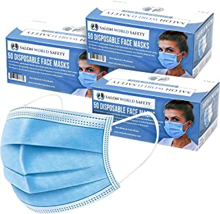 TCP Global Salon World Safety - Face Masks 3 Boxes (150 Masks) Breathable Disposable 3-Ply Protective PPE with Nose Clip a...