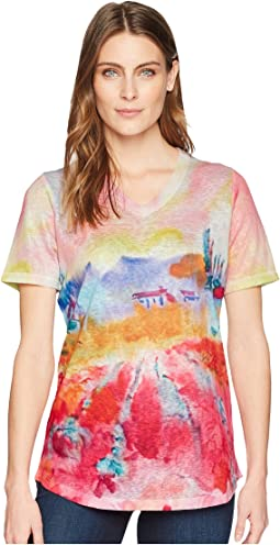 Tuscany Print V-Neck Top