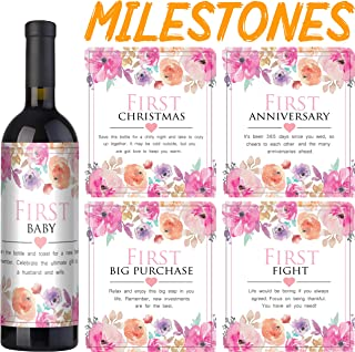 Wedding Firsts Wine Labels by VelvetGuru - Set Of 5 + Gift - Waterproof Wine Bottle Stickers for Wedding Anniversary & Wedding Milestones (White/Pink)