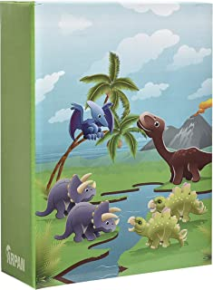 ARPAN 6x4'' Small Slip In Case Photo Album for 100 Photos Various Design & Colurs (Kids Cute Dinosaurs)