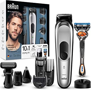Braun MGK7020 10 en 1, Máquina recortadora barba y cortapelos todo en uno con afeitadora cuerpo, nariz y orejas, afeitador...