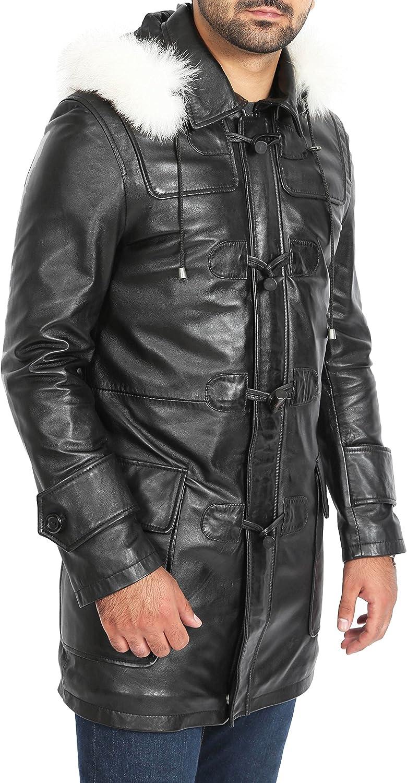 A1 FASHION GOODS Mens Duffle Leather Coat Black ¾ Long Removable Hood Zip Up Designer Jacket - Ian
