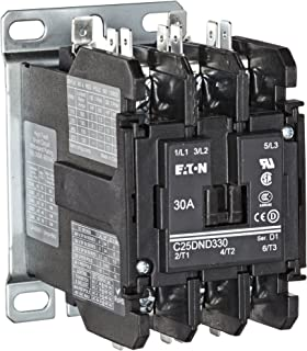 Eaton C25DND330A Definite Purpose Contactor, 50mm, 3 Poles, Screw/Pressure Plate, Quick Connect Side By Side Terminals, 30A Current Rating, 2 Max HP Single Phase at 115V, 10 Max HP Three Phase at 230V, 15 Max HP Three Phase at 480V, 120VAC Coil Voltage