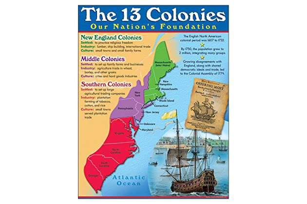 Amazon.com : TREND enterprises, Inc. 13 Colonies Learning Chart, 17 on