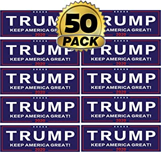 Go Party USA Trump 2020 Bumper Stickers 50 Pack   Keep America Great   Pro President Donald Trump Bumper Stickers for Cars   Trump Window Decal Gifts   Trump 2020 (50)