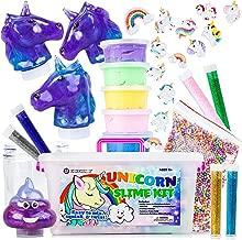 Unicorn Slime Kit for Girls - Kids Slime Kit with Fluffy Slime Kit, Unicorn Slime, Charms, Emoji Slime, Floam Beads, Glitter Add Ins DIY Rainbow Unicorn Slime Making Kit and Slime Accessories