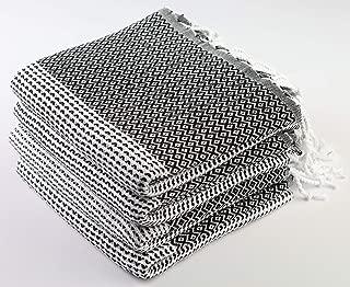 Sualla 100% Cotton - Aegean Turkish Towel - Bath Fouta Beach Blanket Pestemal - Handloom Diamond Weave Peshtemal - 36X69 Inches, Black (Set of 4)
