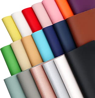 "ZAIONE Solid Colored Texture PU Faux Leather Sheets 20pcs 8"" x 6"" (20cm x 15cm) Soft Solid Grain Assorted Colors Faux Leat..."
