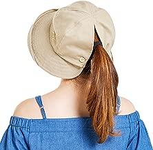 Women Reversible Sun Hat UV Protection Wide Brim Floppy Summer Visor Ponycaps